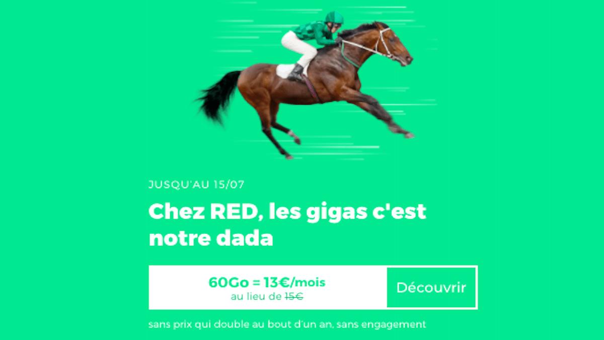 Forfait en promo à 13€ les 60 Go chez RED by SFR