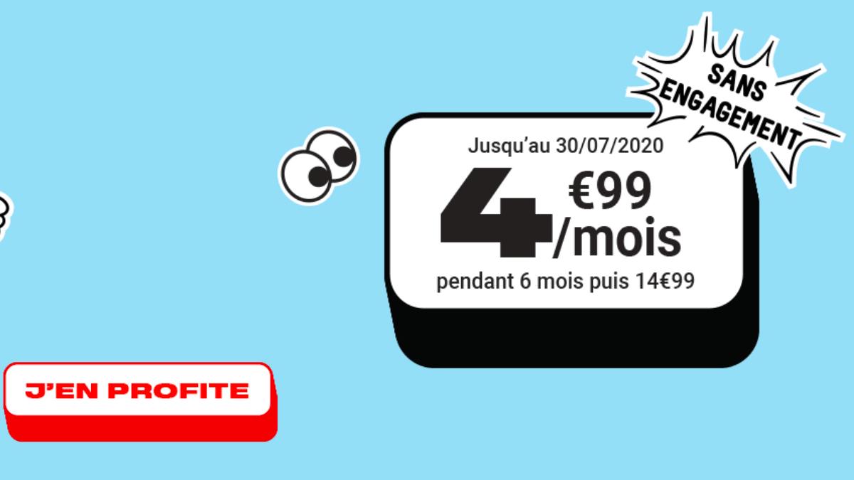 NRJ Mobile propose un forfait sans engagement à 4,99€/mois.
