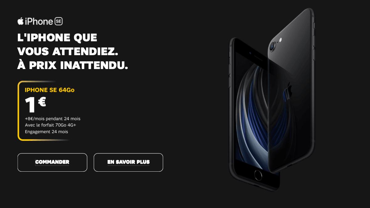 l'iPhone SE à petit prix avec un forfait 60 Go est disponible chez SFR.
