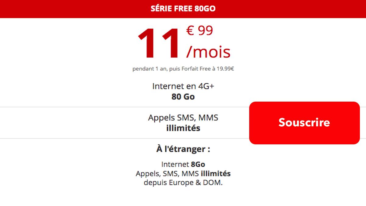 Forfait en promo 80 Go chez free mobile