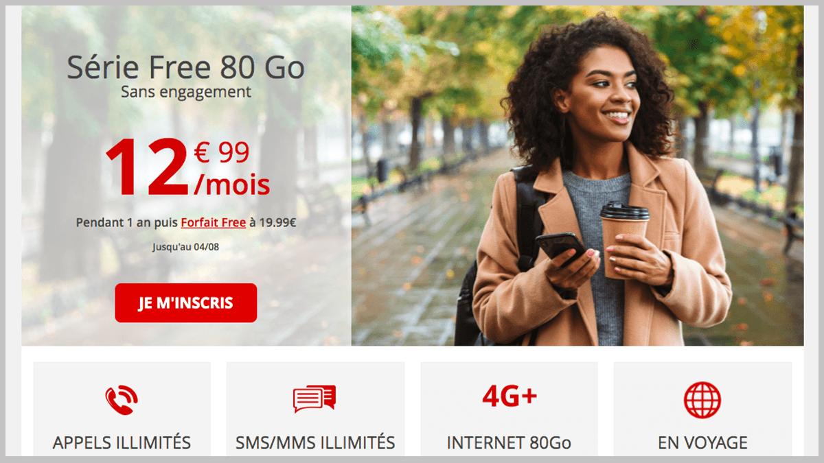 80 Go à 12,99€ avec Free mobile
