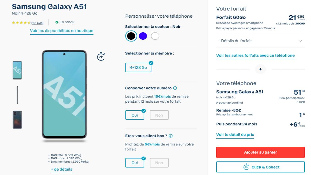 Modalités contractuelles Samsung Galaxy A51 Bouygues