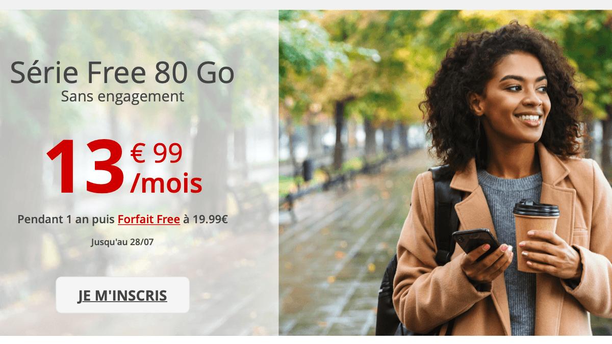 La Série Free de Free mobile propose désormais 80 Go pour 14€/mois.