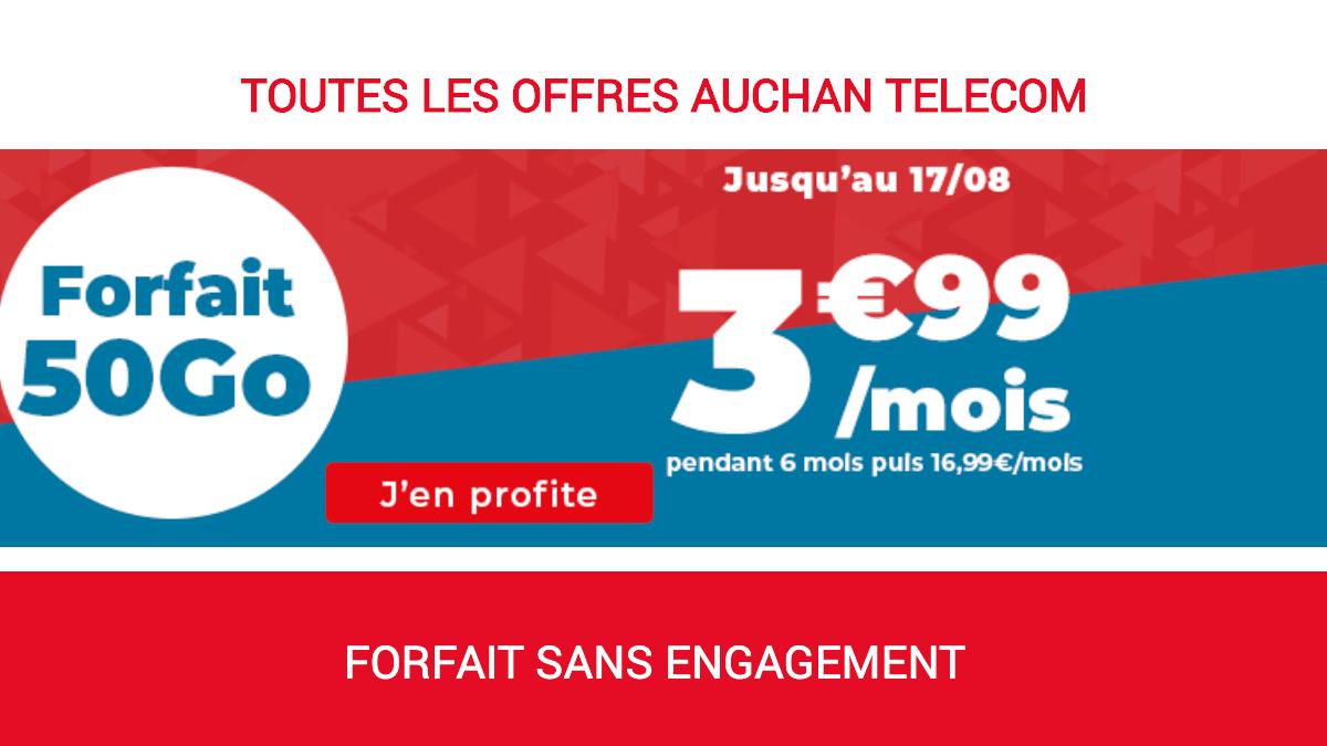 Le forfait sans engagement d'Auchan Télécom en promo.
