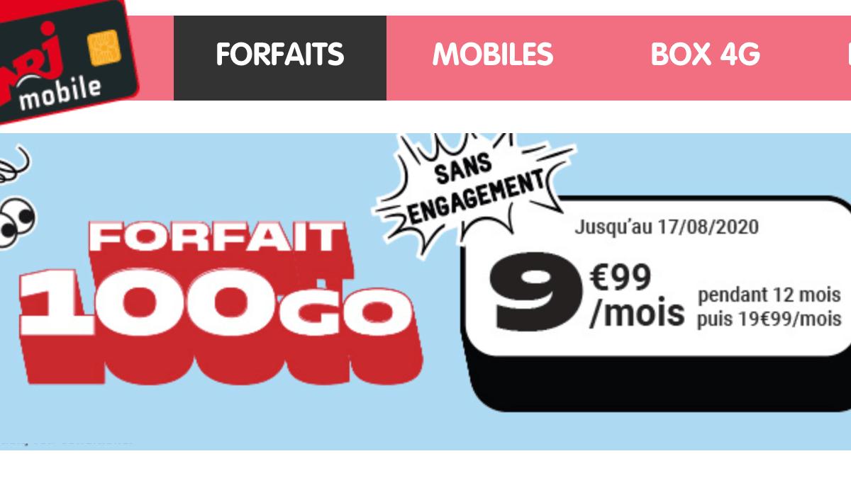 NRJ Mobile, le petit forfait avec 100 Go et l'accès au partage de connexion.