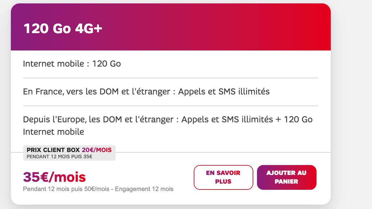 Le forfaiT SFR à 120 Go.