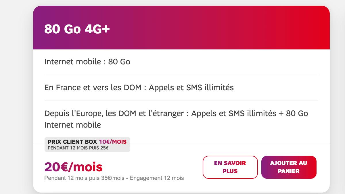 Le forfait SFR 4G avec 80 Go de données mobiles.