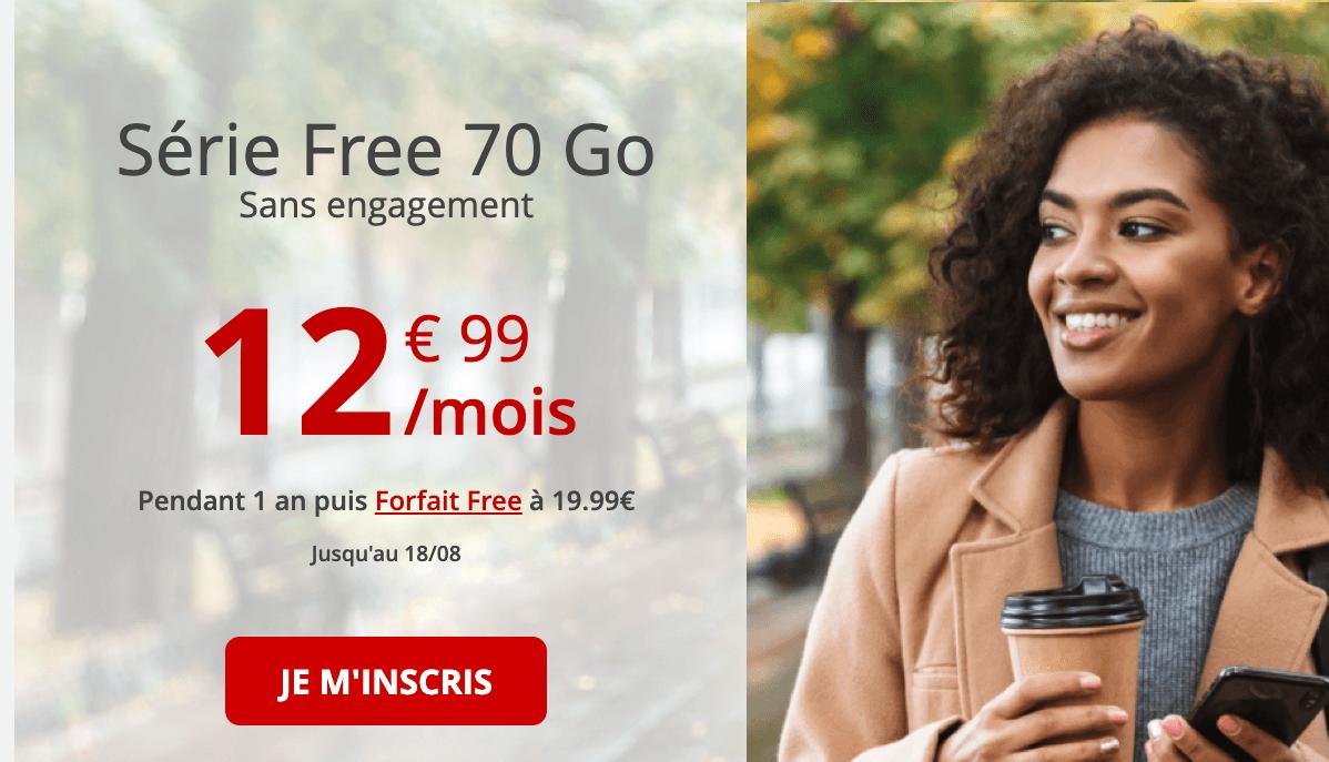 le forfait sans engagement de Free à partir de 13€.