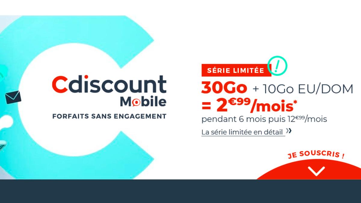 Cdiscount Mobile : 30 Go à 2,99€ par mois sans engagement.
