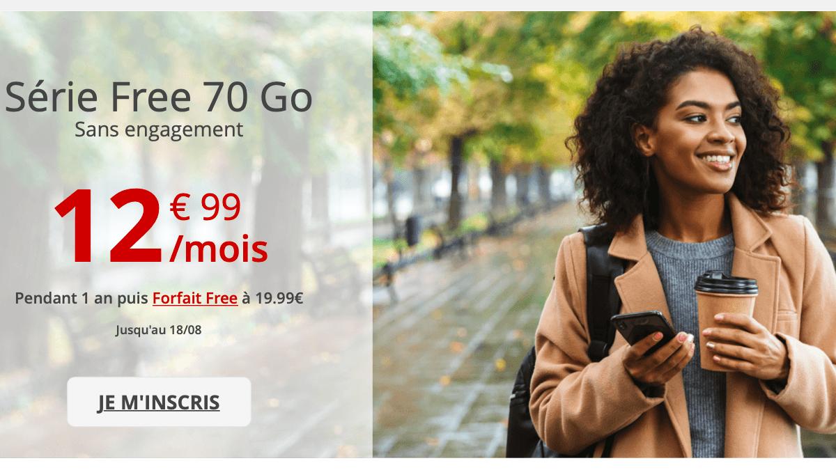 La Série Free revient avec ses 70 Go pour un forfait en promo à 12,99€/mois.