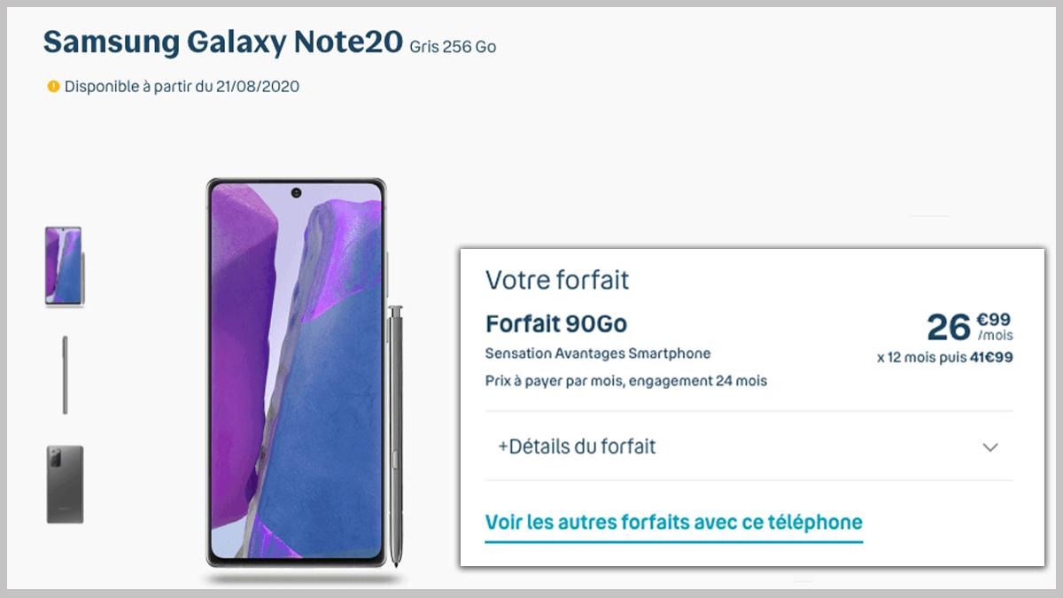 90 Go et Samsung Galaxy Note 20