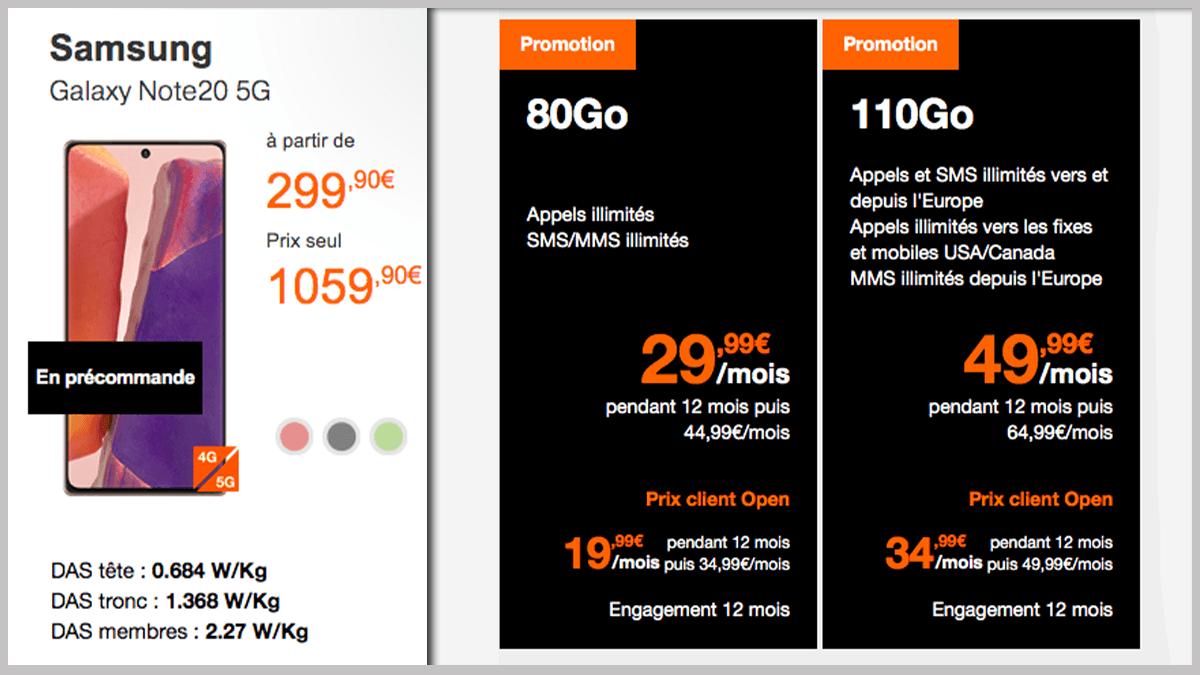 Orange et Samsung Galaxy Note 20