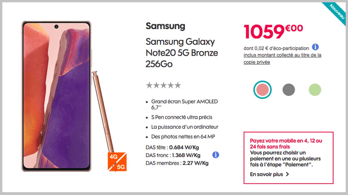 Samsung Galaxy Note 20 avec Sosh