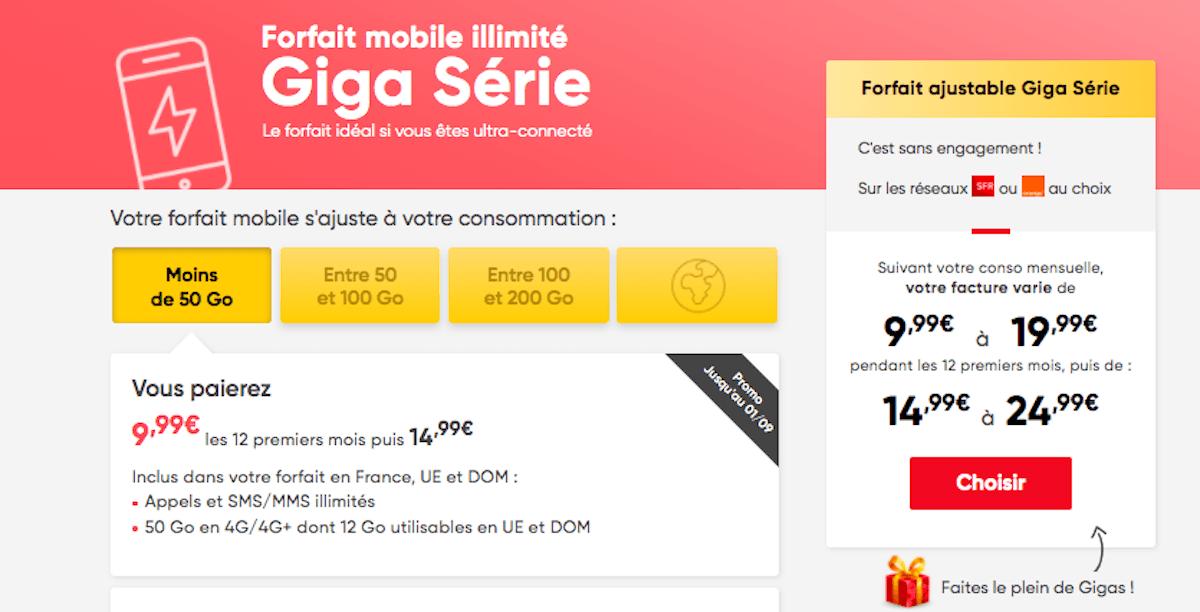Giga Série en promo Prixtel
