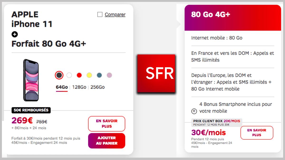 iPhone 11 et forfait 80 Go SFR