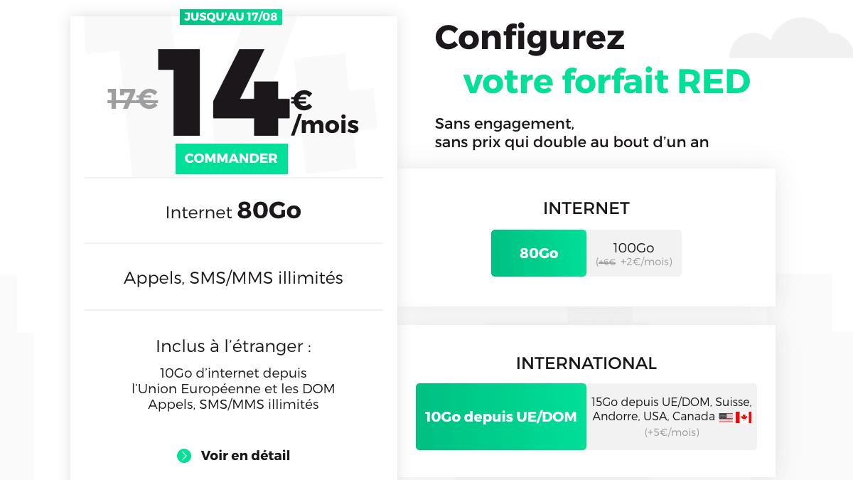 Le forfait 80 Go de RED by SFR à partir de 14€ par mois.