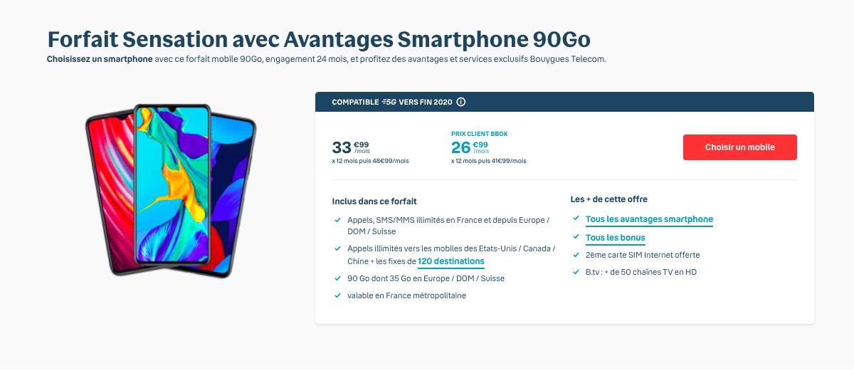 Bouygues Telecom forfait Sensation 90 Go