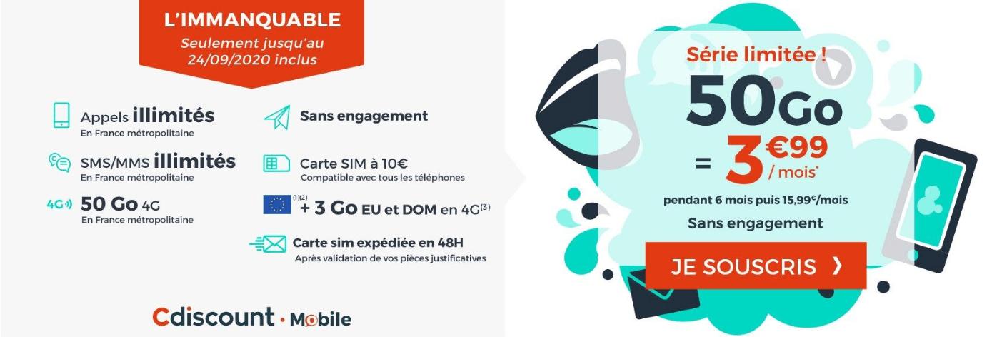 Cdiscount Mobile 50 Go 3,99€/mois