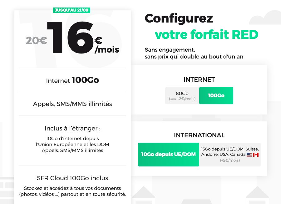 Forfait mobile RED by SFR 100 Go