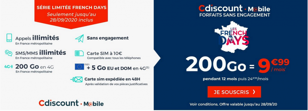 Forfait mobile 200 Go Cdiscount
