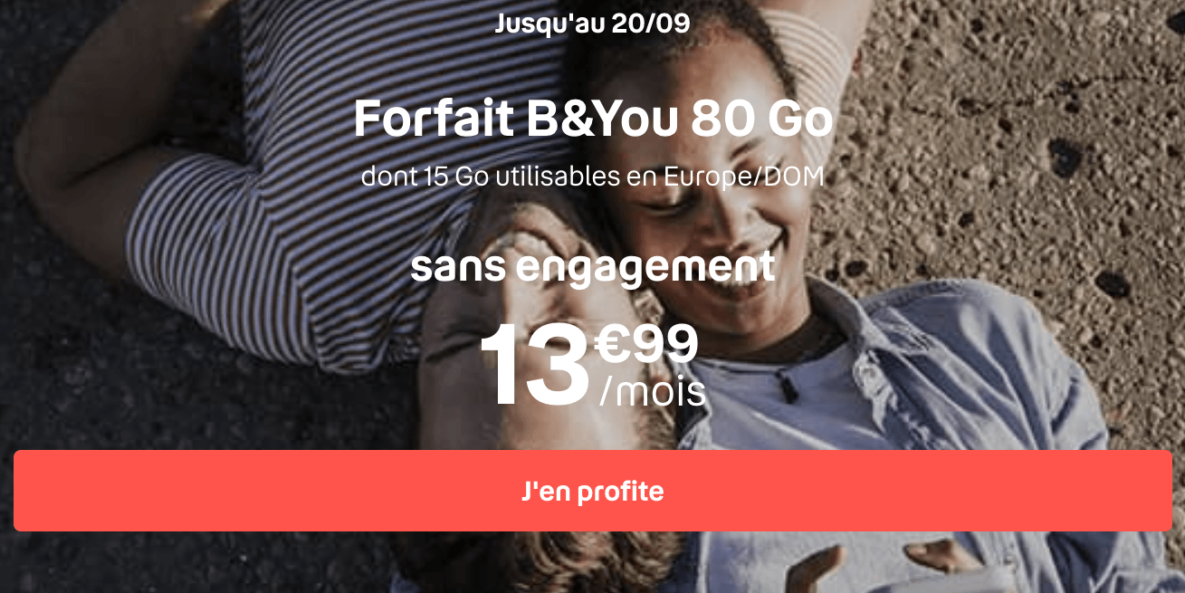 Forfait 4G B&YOU 80 Go