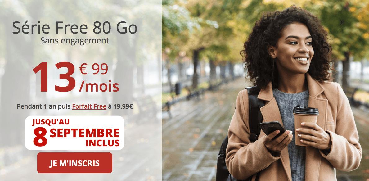 Forfait 80 Go Free mobile