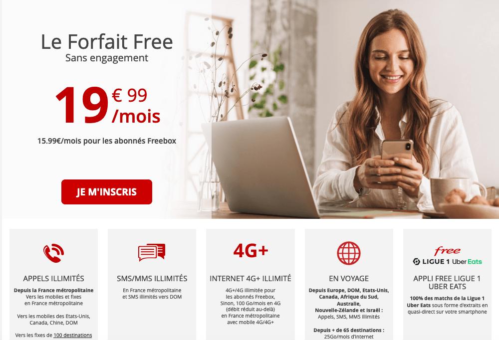 Forfait Free sans engagement 19,99€ mois