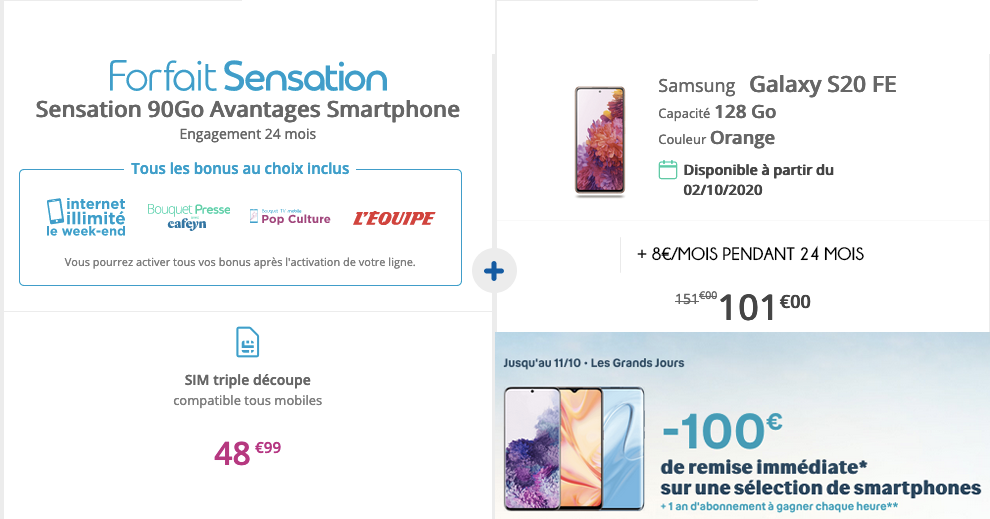 forfait mobile Samsung Galaxy S20 FE