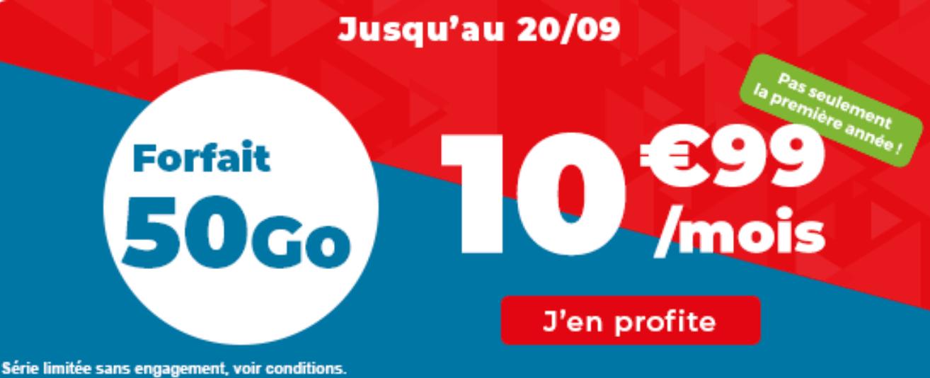 Forfait en promo Auchan Telecom 50 Go