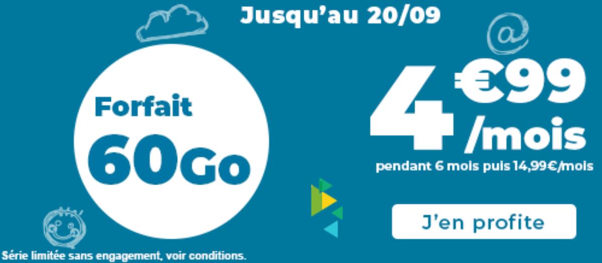 Forfait en promo Auchan Telecom 60 Go