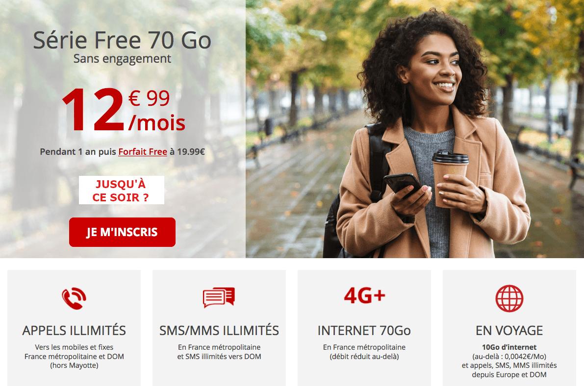 Forfait en promo Free 70 Go