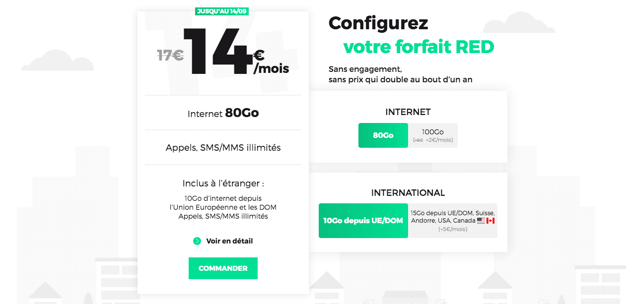 Forfait internet mobile 80 Go RED