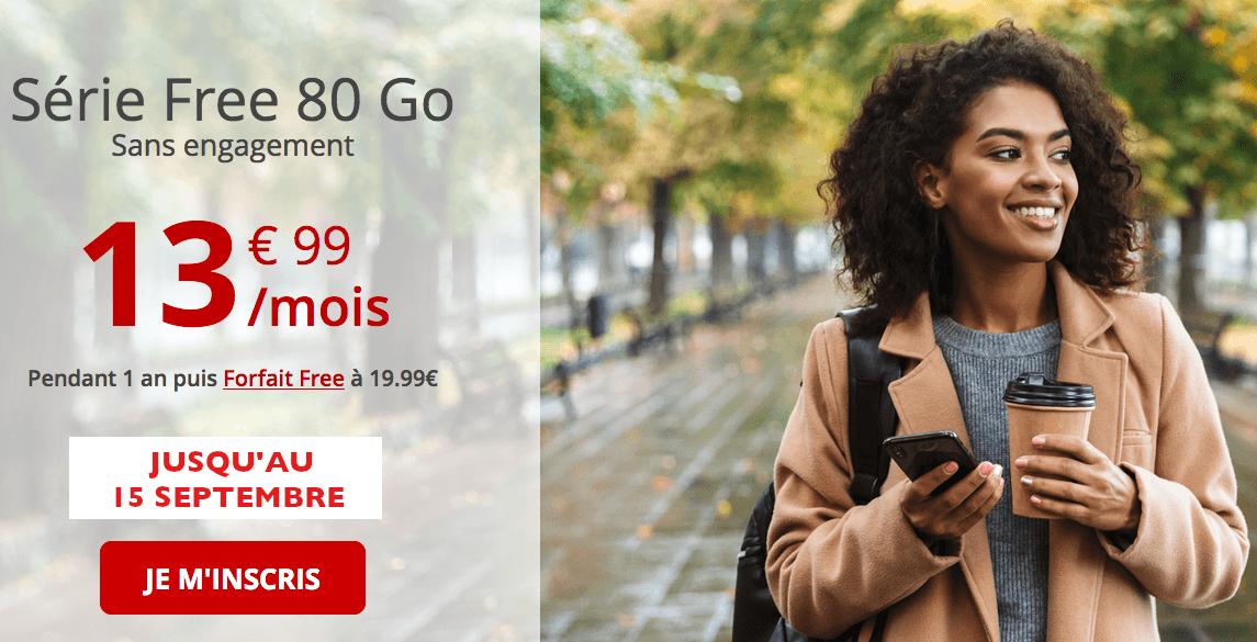 Forfait mobile Free Mobile 80 Go