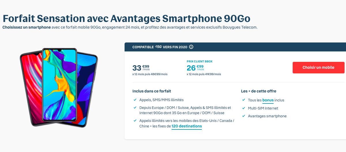 Samsung Galaxy S20 Forfait Sensation 90 Go Bouygues