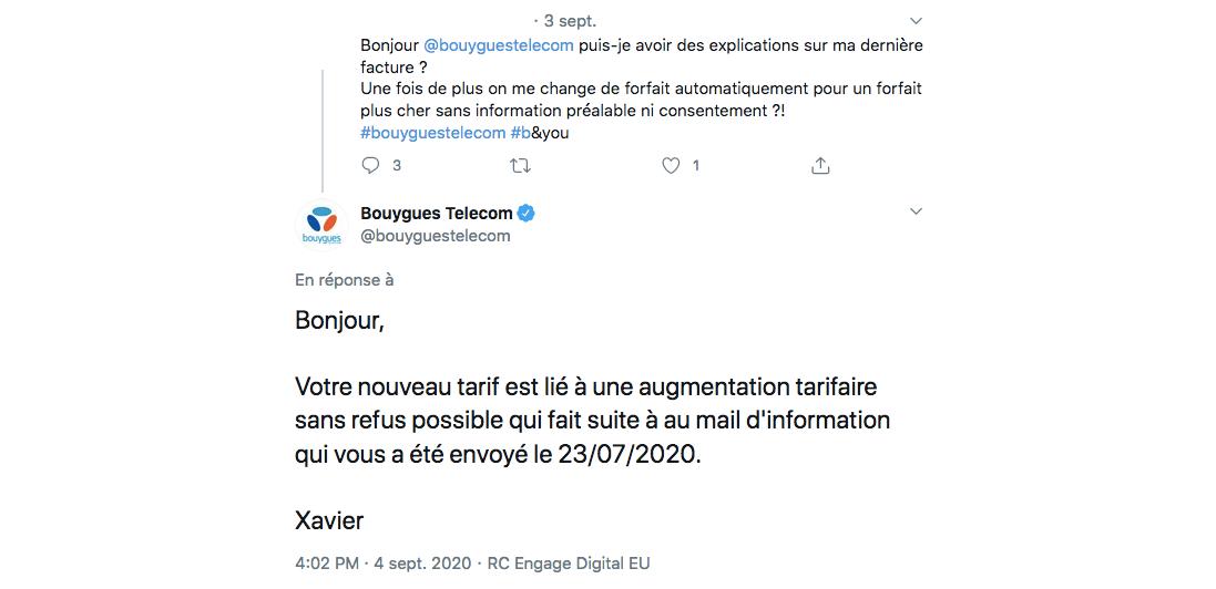 Tweet 1 hausse Bouygues Telecom