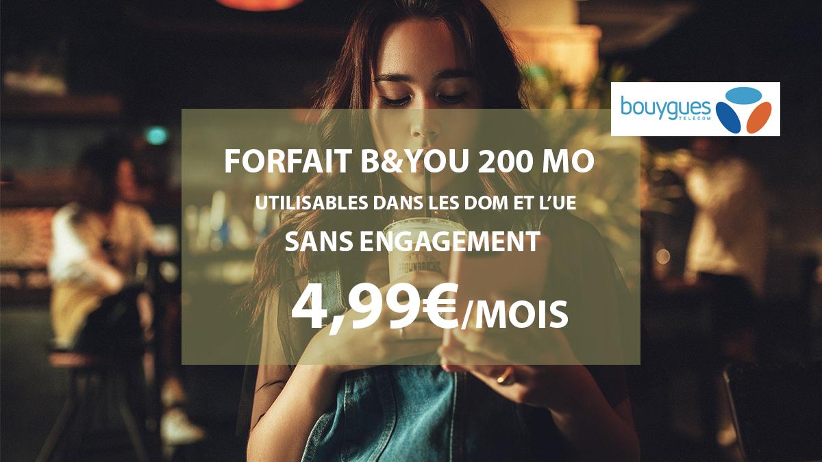 b&you forfait mobile 200 Mo