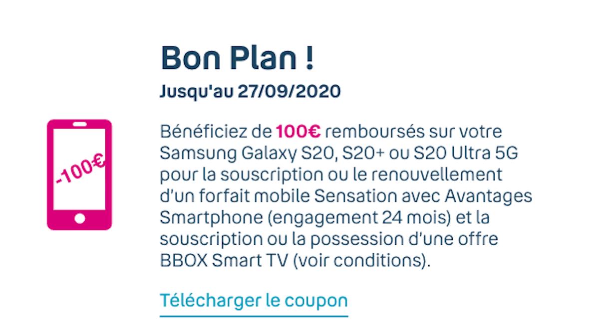 Bon plan 100€ remboursés Bouygues