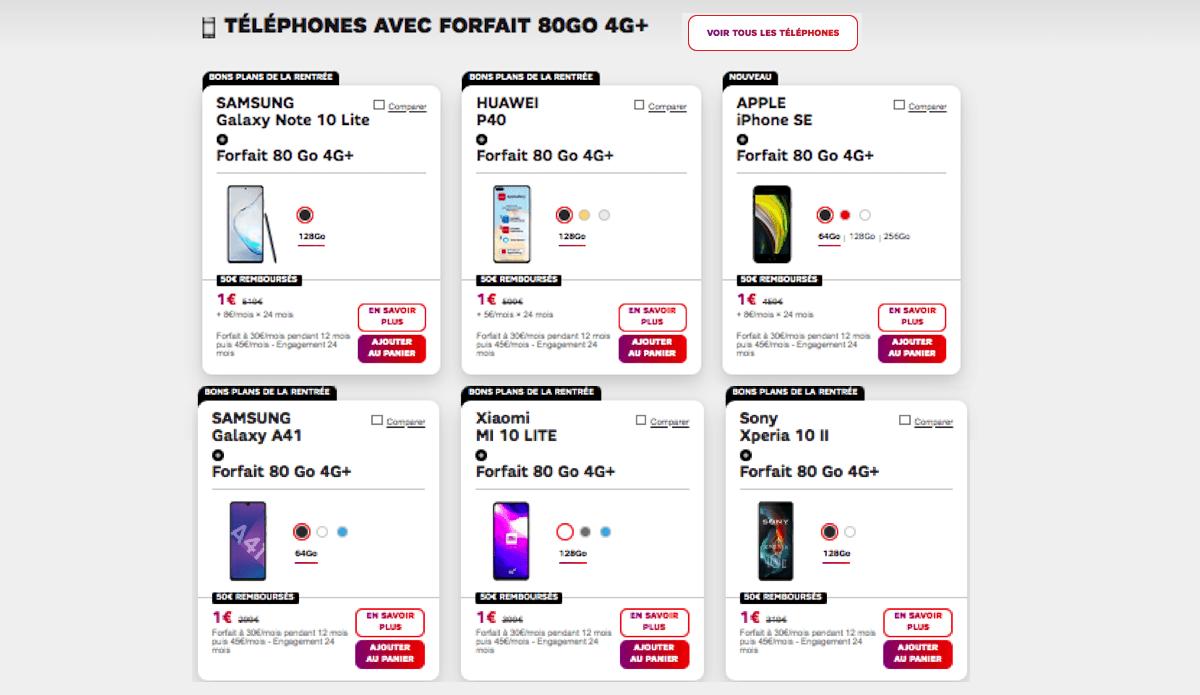 Smartphones avec forfaits SFR