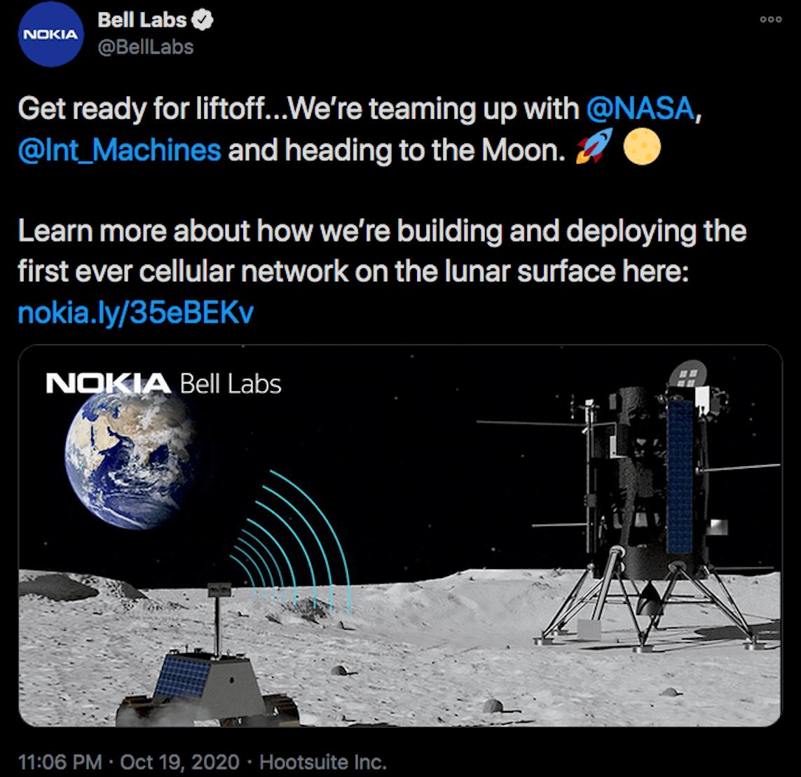 4G sur la Lune Nokia NASA tweet BellLabs