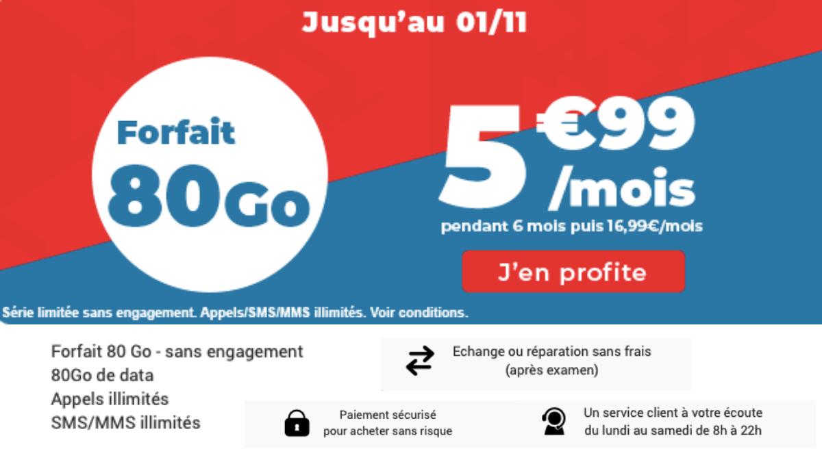 Le forfait 80 Go à 5,99 € / mois avec Auchan Télécom.