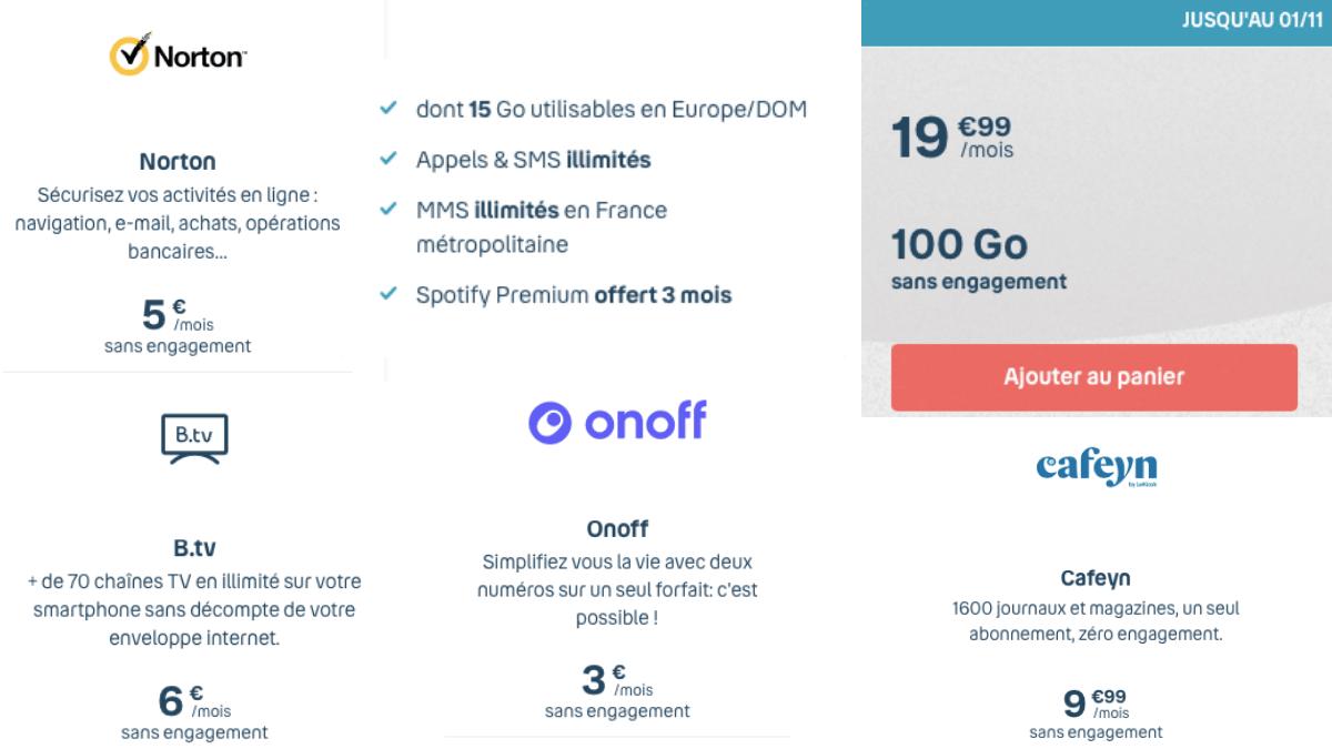 Forfait 100 Go de B&YOU à 19,99€/mois.