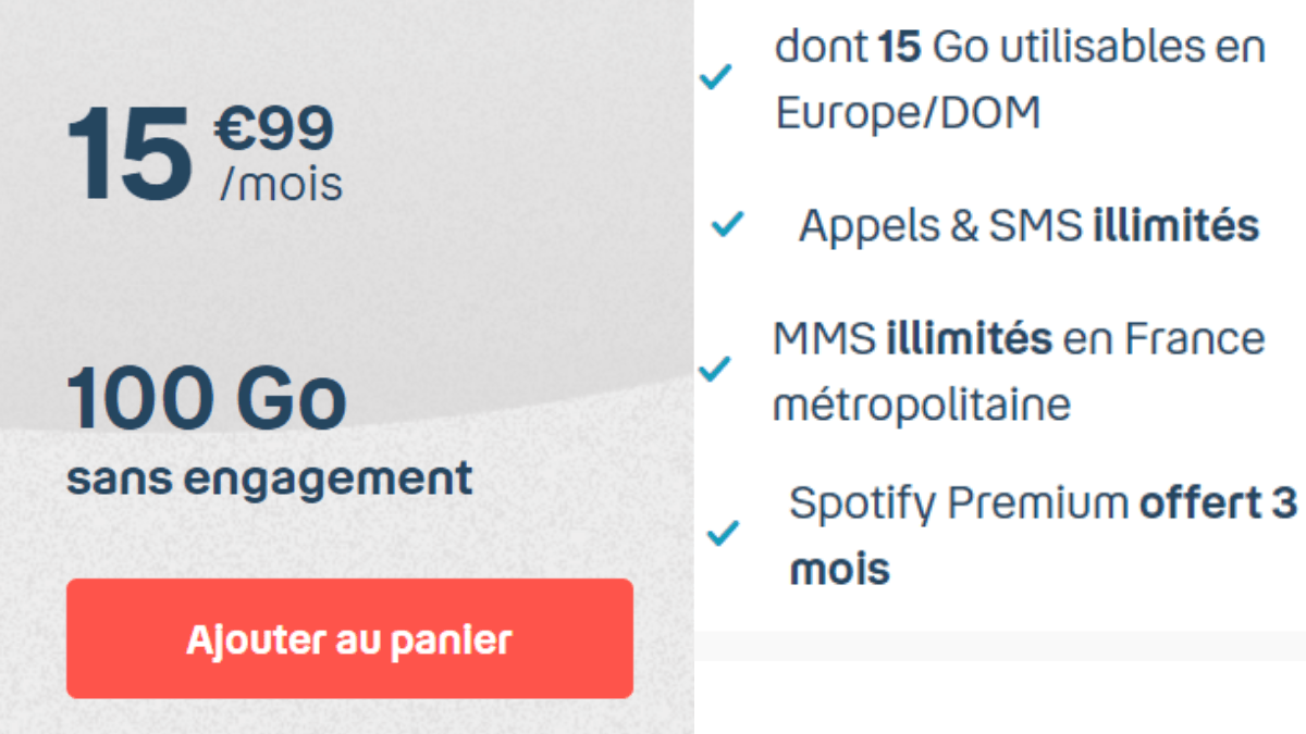 Forfait 100 Go à 15,99€/mois avec B&YOU
