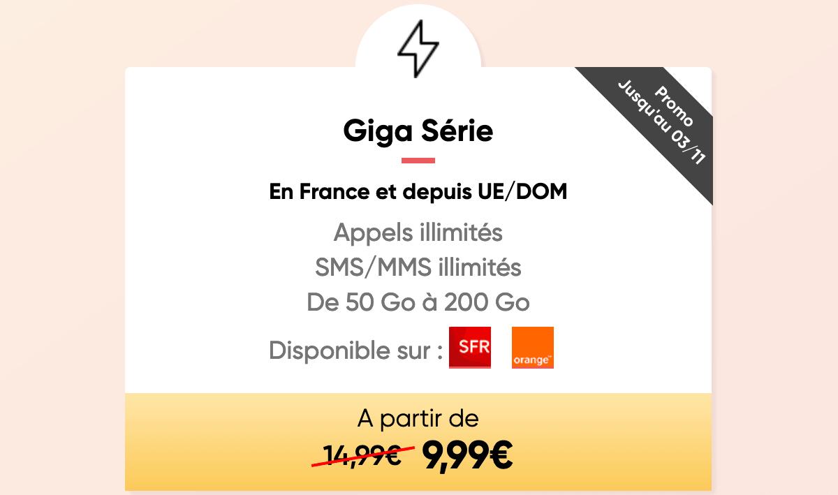 Forfait Mobile Giga Série de Prixtel