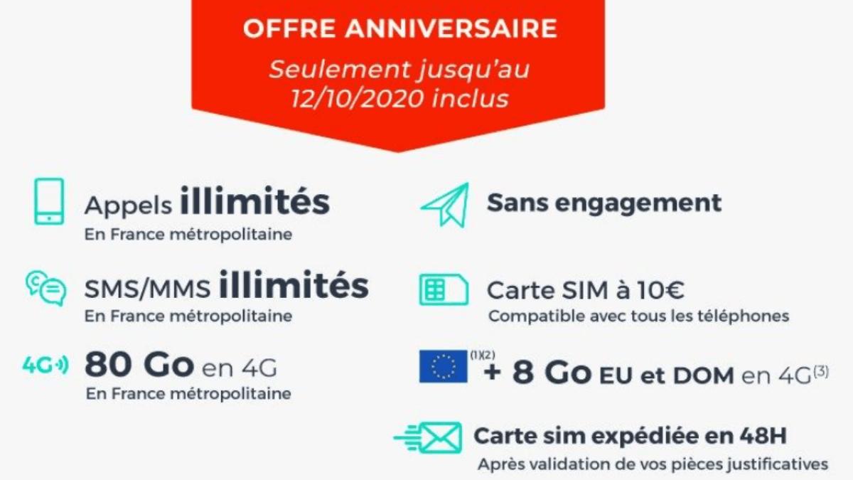 Cdiscount Mobile propose un forfait 80 Go à 3,99€/mois pendant 6 mois.