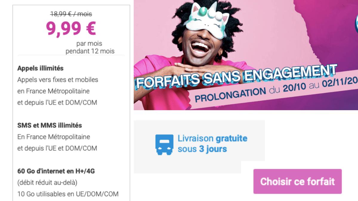 Le forfait mobile Coriolis Telecom 60 Go pour 9,99€/mois.