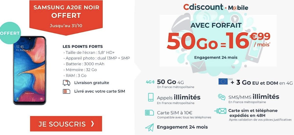 Forfait 50 Go Cdiscount Mobile Samsung A20E