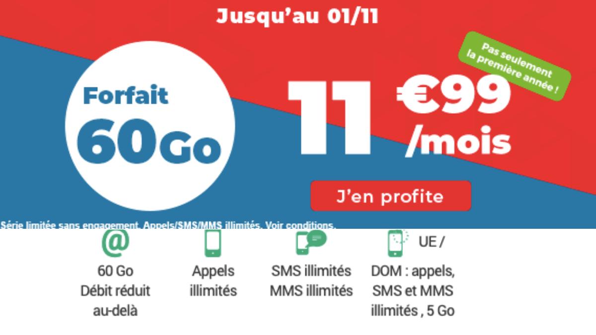 Le forfait mobile Auchan télécom avec 60 Go.