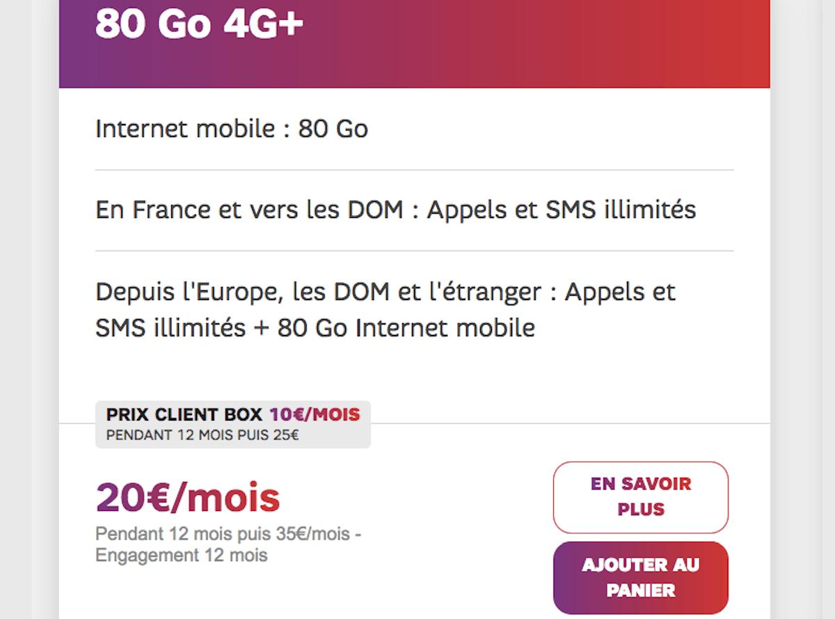 Forfait 80 Go SFR iPhone SE