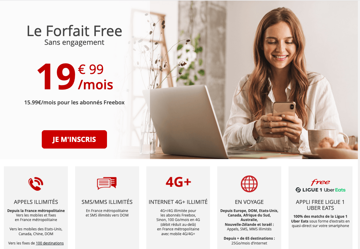 Forfait Free 19,99€/mois