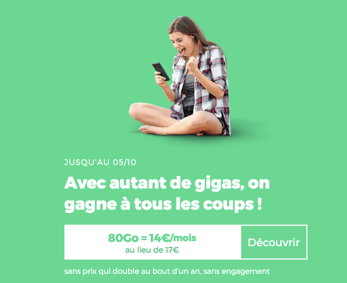 Forfait en promo RED by SFR 80 Go